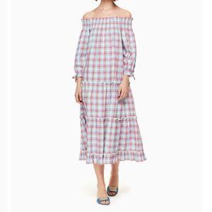 kate spade Madras Off the Shoulder Dress Large